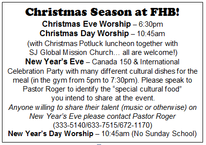 Christmas Season at FHB