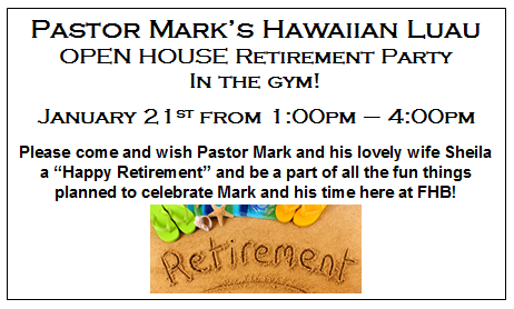 Pastor Mark Dail retires after 34 years at FHB!